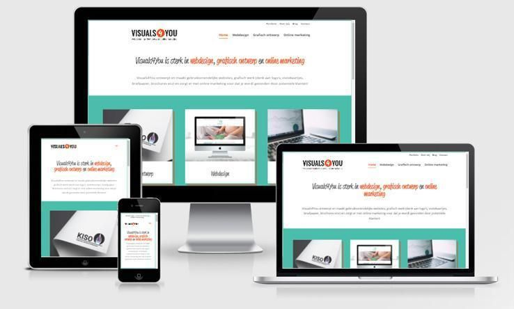 Website visuals4you.nl weergegeven op verschillende devices.